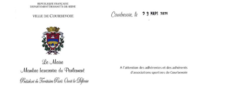 Message de M. le Maire de Courbevoie